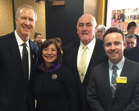 Gov. Rauner Illinois, ICIRR Chair Maria Pesqueira, Board Member Billy Lawless, Breandan Magee